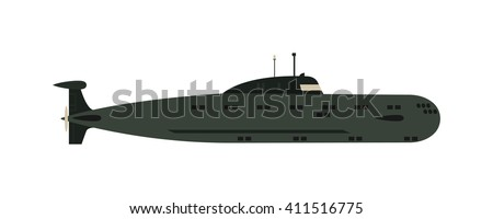 Isolated military submarine old army sea ship transport vector illustration. Submarine weapon sub design and submarine transportation. Submarine periscope transport boat metal vessel. - stock vector