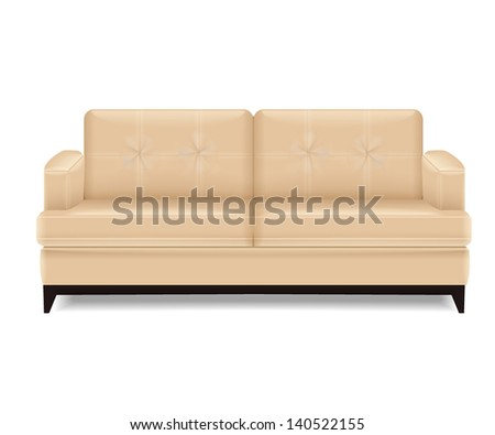 Isolated modern realistic sofa on white background. You can use it for your design or logos. Vector illustration. - stock vector