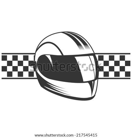 Isolated motorcycle sport helmet. - stock vector