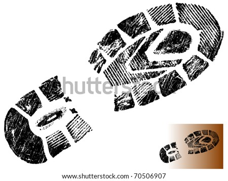 Isolated Mountain BootPrint - Highly detailed vector of a mountain boot- transparent vector so it can be overlaid onto other graphic elements - stock vector