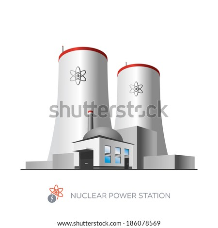 Isolated nuclear power plant icon on white background in cartoon style  - stock vector