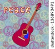 Isolated object guitar on peace background. Easy edited. Peace background. Music instrument. Hippie style. - stock vector