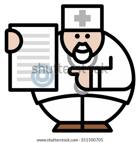 Isolated objects: doctor with document, on white background, editable vector image, for use as icon, patch, sticker, logo, design element - stock vector
