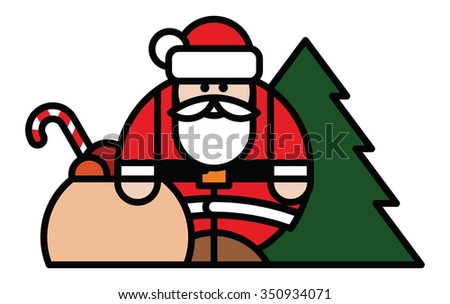 Isolated objects: Santa Claus, bag of toys and Christmas tree, on white background, editable vector image, for use as icon, patch, sticker, logo, design element - stock vector