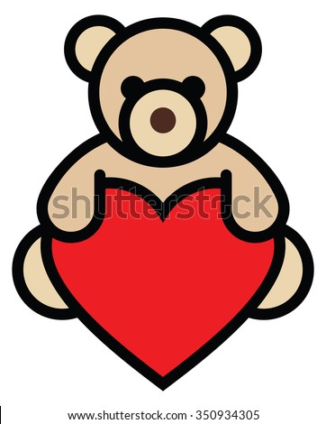 Isolated objects: teddy bear holding red heart, on white background, editable vector image, for use as icon, patch, sticker, logo, design element - stock vector