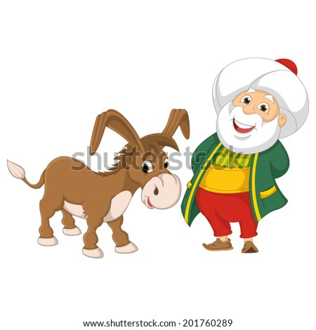 Isolated Old Man and Donkey Vector Illustration - stock vector