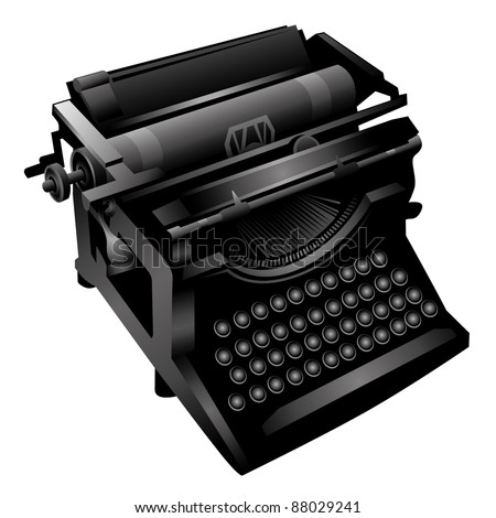 Isolated old typewriting machine. Vector illustration.