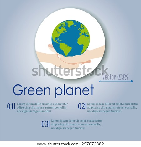 isolated on a poster placed inside a circle which shows two hands that support green planet Earth where you can see four of the continent, as a symbol of environmental concerns and healthy future - stock vector