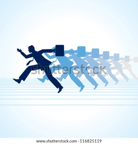 Isolated on businessman running in vector format - stock vector