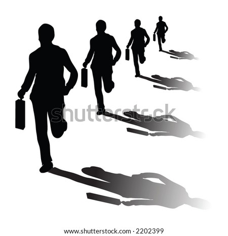 Isolated on businessmans running in vector format - stock vector