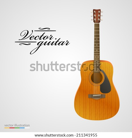 Isolated on white acoustic guitar. Vector illustration - stock vector