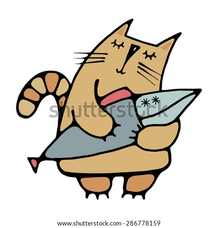 Isolated on white background hand-drawn cute cat dreaming of a big fish in its claws, a simple design for embroidery, applique, design element - stock vector
