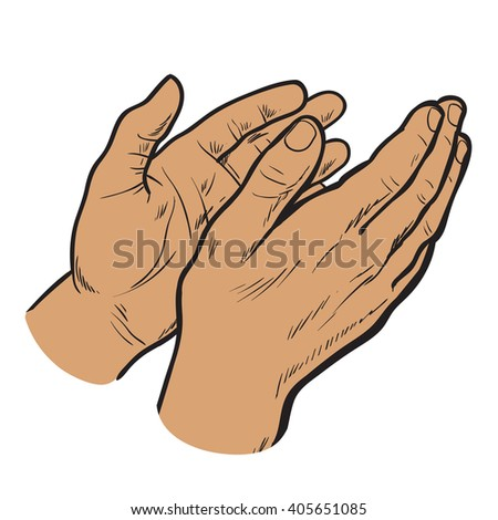 Isolated on white background hands clap their palms, the two men's hands, sketch style hand-drawn, cherntsy contour of human hands, applause, bravo, joy, success - stock vector