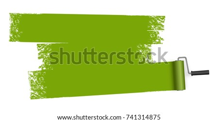 isolated on white background paint roller with painted marking colored green