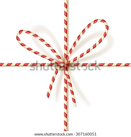 Isolated on white christmas gift tying: bow-knot of red and white twisted cord. Vector illustration, eps10. - stock vector
