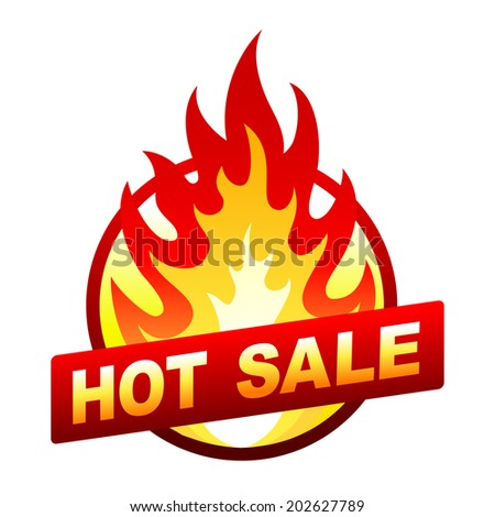 Isolated on white hot sale sticker, badge with flame