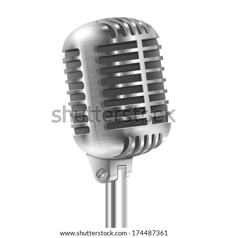 Isolated On White Metallic Retro Microphone. Vector Illustration.