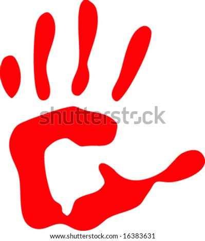 isolated on white red handprint vector illustration