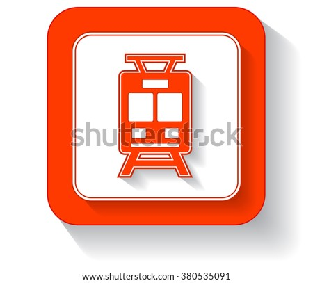 isolated orange button with train silhouette and shadow - stock vector