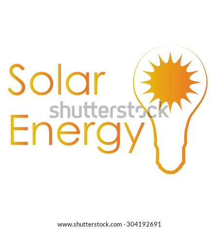 Isolated orange label with text and an icon for alternative energy. Vector illustration
