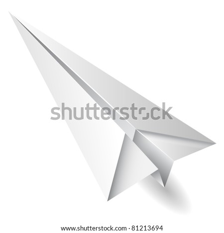 isolated paper airplane flying