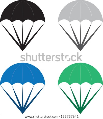 Isolated parachutes in various colors - stock vector
