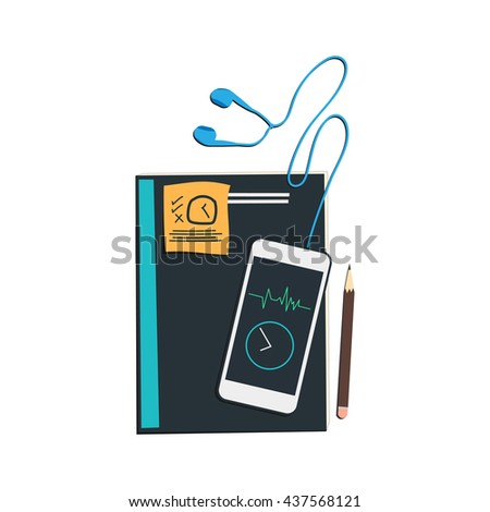 Isolated, pencil note book and mobile phone listen music wait for some. concept design vector  - stock vector