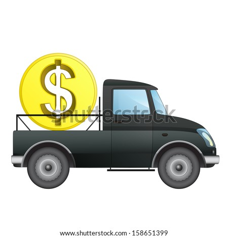 isolated pick up car as Dollar money business transporter vector drawing illustration - stock vector