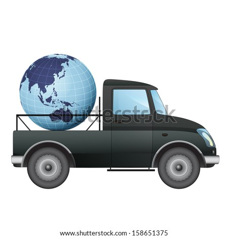 isolated pick up car transportation in asian countries vector drawing illustration