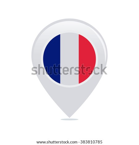 Isolated pin with a french flag on a white background - stock vector