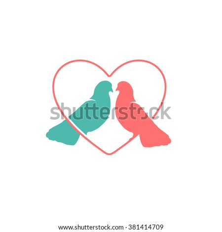 Isolated pink and turquoise pigeons in the heart vector logo. Romantic image. St. Valentines Day greeting card. Love symbol. Peace element. Birds silhouette. Doves side view. Wedding. - stock vector
