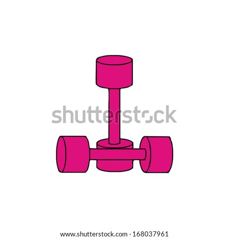 isolated pink dumbbells, fitness, vector illustration - stock vector