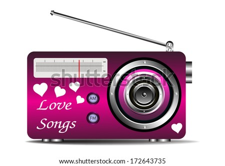 Isolated pink radio with heart shapes and the text love songs written with white letters - stock vector