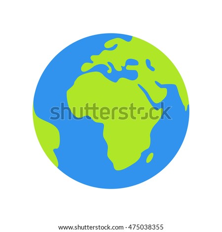 Isolated planet Earth on white background. Simple flat world globe icon in blue and green colors. Travel around the world.
