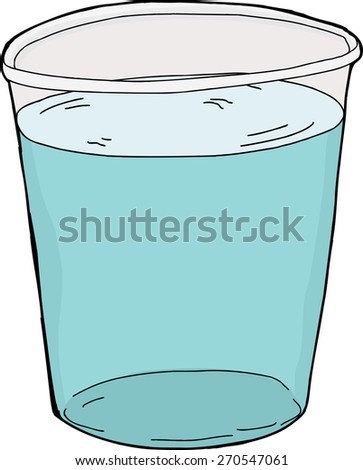 Isolated plastic cup full of water over white