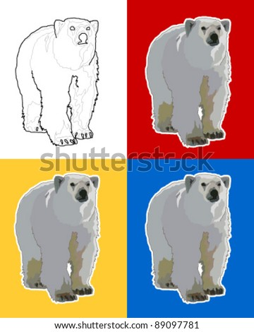 Isolated Polar Bear - stock vector