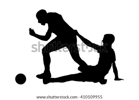 Isolated poses of soccer players in duel vector silhouettes on white background. Very high quality detailed soccer football player silhouette cutout outlines. Fault situation. - stock vector