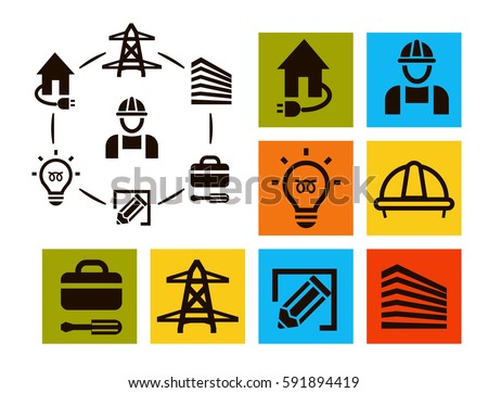 Isolated Professional Electrician Icons Set Equipment And Tools Logos Collection Electricity Pictogram Elements Vector