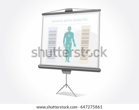 Isolated projector screen. Anatomy poster. Diabetes poster. Health presentation.