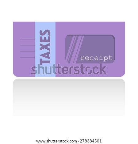 Isolated purple envelope with the text taxes written on the envelope - stock vector