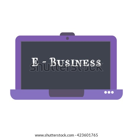 Isolated purple laptop with the text e-business written on its screen - stock vector