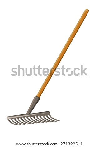 Isolated rake on a white background