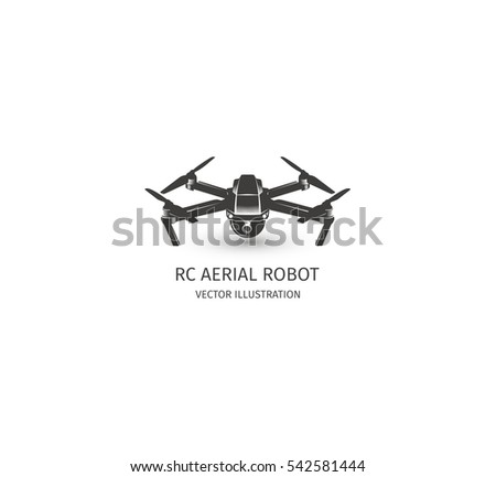 Isolated Rc Drone Logo On White UAV Technology Logotype Unmanned Aerial Vehicle Icon