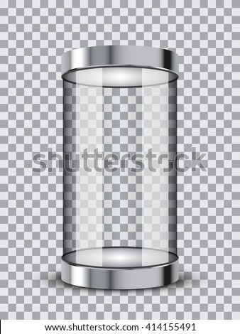 Isolated realistic empty glass showcase. Vector illustration on transparent background - stock vector