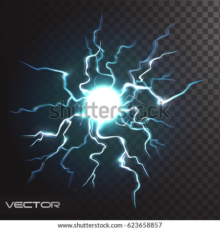 Isolated Realistic Lightning Bolt With Transparency For Design Flash Thunderstorm And Thunderbolt Effect