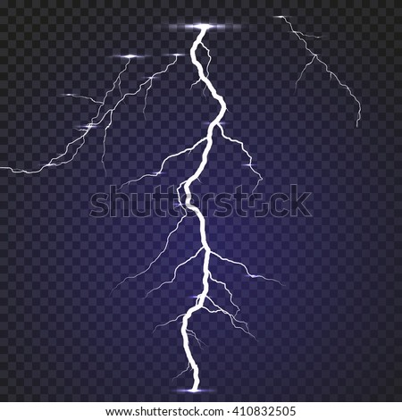 Isolated realistic lightning with transparency for design. Thunder-storm and lightning. Natural effects. - stock vector