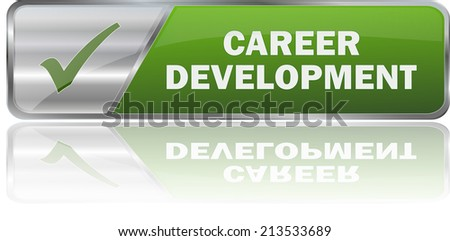 isolated realistic modern green 3D vector eps10 career development label sign - stock vector