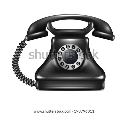 Isolated Realistic Vector Retro Telephone - stock vector