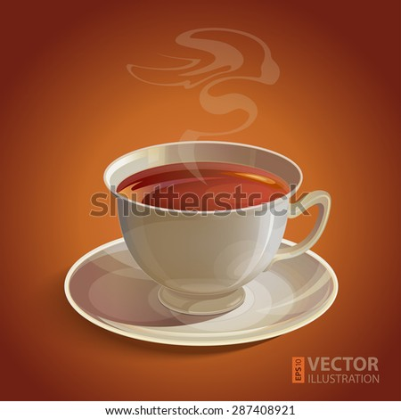 Isolated realistic white tea cup and saucer with vapor on brown background. RGB EPS 10 vector illustration - stock vector