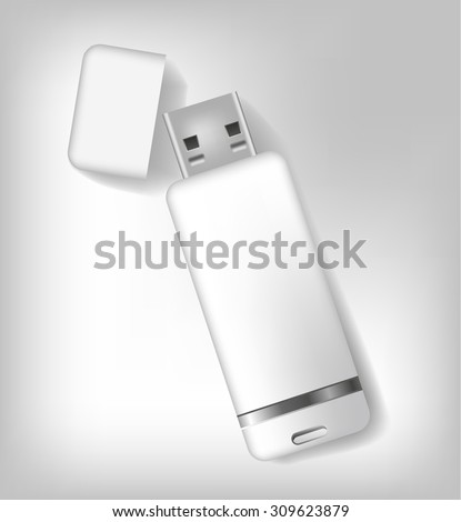 Isolated realistic white usb memory sticks mock up. Vector illustration